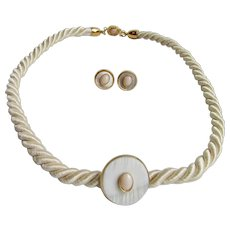 LC 18kt Silk Cord GP with Mother of Pearl and Angel Skin Coral Discs Pierced Earrings and Necklace