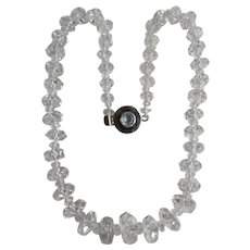 LC Silver Blue Topaz Rock Crystal Graduated Rondelle Bead Necklace