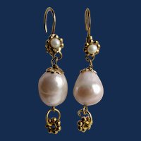 Vintage GP Cultured South Sea Baroque Pearl 13mm Silver Rose Lilac over tones Pierced Earrings