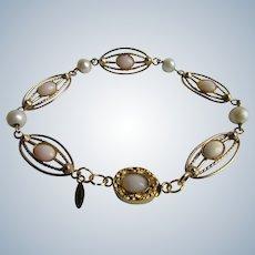 Vintage 12kt GF Signed Loran Sim Angel Skin Coral and Cultured Pearl Link 18kt GP Clasp Bracelet
