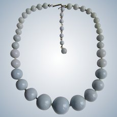 Vintage Graduated Galalith Grey Blue Bead Choker Necklace