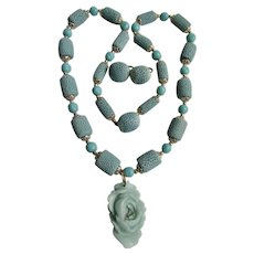 LC Amazonite Carved Flower Pendant with Dyed Soft Turquoise Color Sponge coral Necklace and Clip Earrings