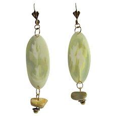 LC Raw Amber Dangler with Galalith Creamy Lime Transparent Marbled Link GP Leverback Pierced Earrings