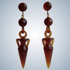 Vintage Horn Etruscan Style Revival Amphora Urns Dangling Duster Length Pierced Omega GP Earrings