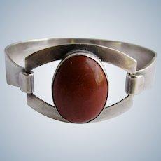 Vintage Signed Israel Sterling Jasper Cabochon Clip Bracelet