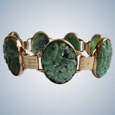 Vintage Signed EB Engel Brothers 10k GF Jadeite Carved and Pierced  Cabochon Link Bracelet