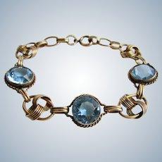 Vintage Signed Carl Art GP on Sterling Topaz Round Gemstone Link Bracelet