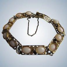 Vintage 800 Silver Gilt Filigree 12 Angel Skin Coral Cabochon Link Safety Chain Bracelet
