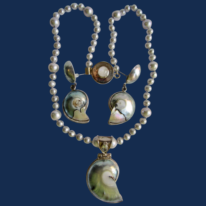 Nautilus necklace with aquamarines river and silver pearls