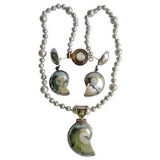 LC Sterling Moonstone, Nautilus And Osmina Shell and Cultured Grey Pearl Necklace Pendant and pierced Earrings Set with Aquamarine Gem