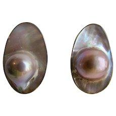 Vintage Sterling Silver Blister Mabe Pearl Post Pierced Earrings