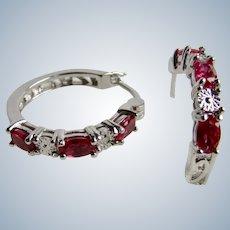 Vintage Silver Rhodium Plated Lab Created Rubies and Diamond Chip Gems Pierced Earrings