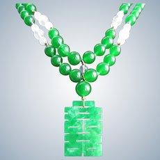 Little Creations 18kt GP Jadeite Pendant Graduated Green Glass, Rose Quartz, Jadeite Cabochon Double Strand Necklace