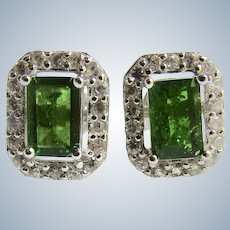 Vintage Sterling Lab Created Emerald Octagonal Cut with Cubic Zirconia Halo Pierced Earrings