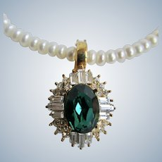 Vintage 10k Cultured Freshwater Pearl with GP Emerald Paste Enhancer with Rondelle Necklace