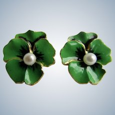 Vintage Emerald Green and Black Enamel Pansy Flowers with Cultured Pearl Center Clip Gold Plated Earrings