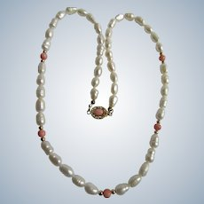 Vintage 18kt GP Cultured Freshwater Pearls with Natural Angel Skin Coral Beads and Cabochon Necklace