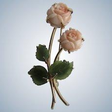 Vintage Krementz Carved Roses Natural Angel Skin Coral Rose and Jadeite Leaves GP Brooch