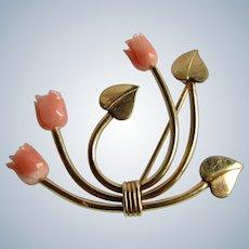 Vintage Signed WRE Symmetalic Carved Pink Angel Skin Tulip 12kt GF Brooch