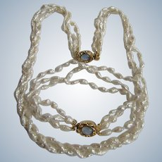 Vintage 18kt GP Cultured Freshwater Rice Pearls with Opals in Box Clasp Torsade Necklace and Bracelet Set