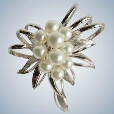 Vintage Sterling 10 AA Quality Cultured Pearl Floral Design Motif Brooch