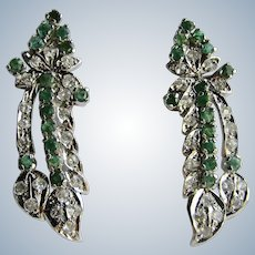 VINTAGE 850 Silver Natural Emerald and Lab Created White Sapphire Floral Drop Pierced Earrings