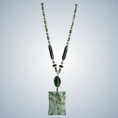 LC 18kt Artisan Art Glass Pendant and Facetted Cut Green and Clear Glass Chalcedony Cabochon Necklace
