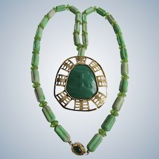 LC 18kt GP Artisan Chinese Sign for Grace Lucite GP Pendant with Celluloid Rod Bead Green Chalcedony Necklace