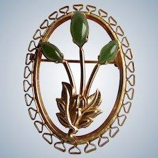 Vintage Jadeite Cabochon GF Floral Motif Framed Oval Brooch