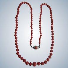 VINTAGE 835 Silver Natural Mediterranean Red Coral Graduated Necklace