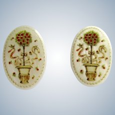 LC Mother of Pearl Disc with Wedding Topiary Flower Design Omega GP Pierced Earrings
