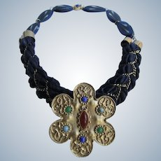 LC 18kt GP Matte Gold Plated Large Floating Pendant and Galalith Marbled Links on Woven Chain and Silk Ribbon Lapis Cabochon Necklace