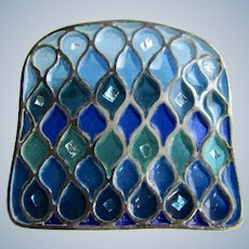 Antique Silver Plique a Jour Stained Glass Design Curved Trumpet Clasp Brooch
