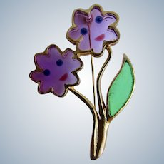 Vintage Signed  Joy Stained Glass Resin Flower Faces GP Brooch