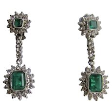 Vintage 7kt WG Lab Created Emerald and Cubic Zirconia Halo Drop Omega Pierced Earrings