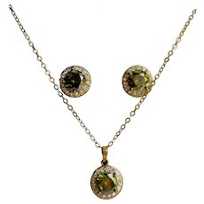 Vintage Halo Style GP Simulated Paste Peridot Pierced Earrings and Pendant on Chain Necklace Set