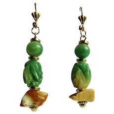 LC 18kt GP Green and Egg Yolk Galalith Carved Marbled Pattern with Egg Yolk Raw Amber Leverback Earrings