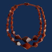 Vintage Unsigned Horn Graduated Polytedral Cube Facetted Beads Double Strand Choker Necklace