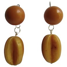 Little Creations Butterscotch Puzzle Drop and Button Bakelite SP Lever Back Pierced Earrings