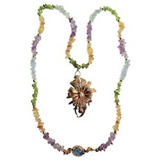 LC 18kt GP Opal and Blue Sapphire Brutalist Design Pendant Brooch with Gem Chip Necklace