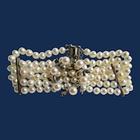 LC Cultured Freshwater Pearl 4 strand Sterling Cultured Pearl AA Quality Wreath Brooch Bracelet