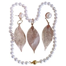 Little Creations Cultured Freshwater Pearl Necklace with Matching GP* Skeletonized Leaf Pendant and Earrings