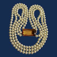 Vintage 3 Strand Simulated Topaz Emerald Cut Paste Clasp Simulated Pearl Necklace