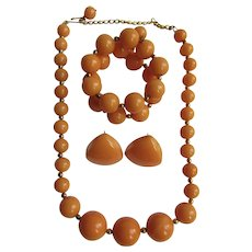 Vintage Peach Butterscotch Bakelite Parure, Necklace, Earrings, Bracelet Set