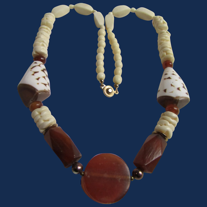 Vintage Carnelian Shell And Carved Bone Exotic Necklace Little Creations Ruby Lane