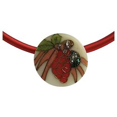 LC Silk 5mm Cord necklace with Micro - Mosaic Holly and Christmas Ornament Design Floating Pendant Necklace