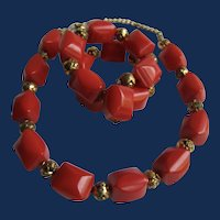 Vintage Red Bakelite and Rose Gilt Spacer Necklace and Memory Wire Bracelet Set
