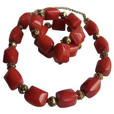 Vintage Red Bakelite and Rose Gilt Spacer Necklace and Memory Wire Bracelet Set