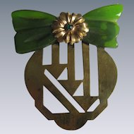 Vintage Modernist Green Bakelite bow on Brass Brooch