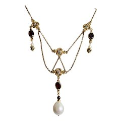 Antique Edwardian Garnet Gems and Natural Pearl Drop and Seed Natural Pearl GP Festooned Chain and Paste Necklace